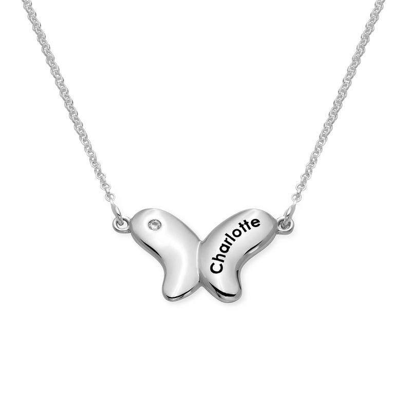 Colgante de mariposa para niñas en plata 925 con circonia cúbica