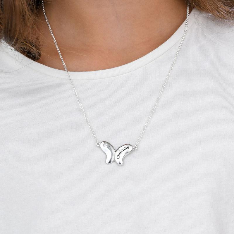 Colgante de mariposa para niñas en plata 925 con circonia cúbica - 2