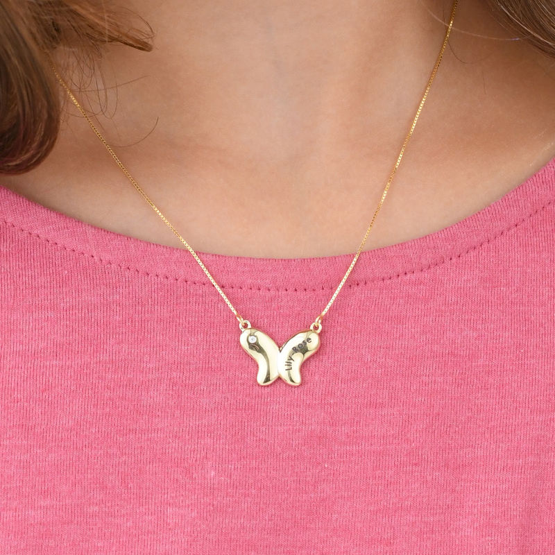 Colgante de mariposa para niñas en oro de 10K con circonia cúbica - 2