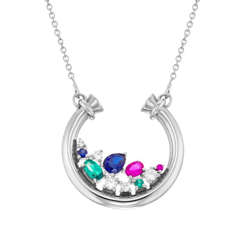 Colgante de medio círculo con piedras preciosas en plata 925