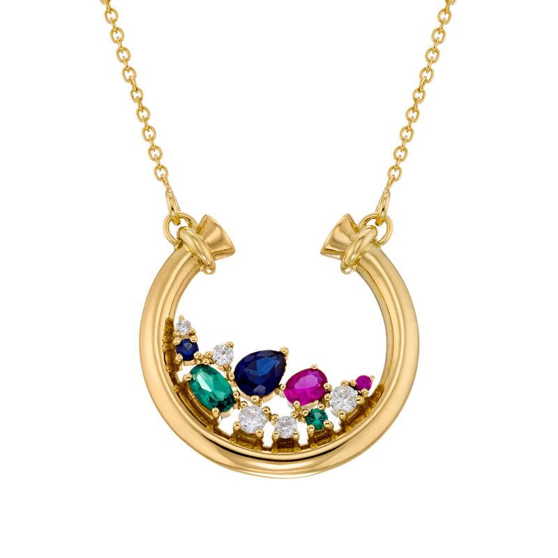 Colgante de medio círculo con piedras preciosas chapado en oro