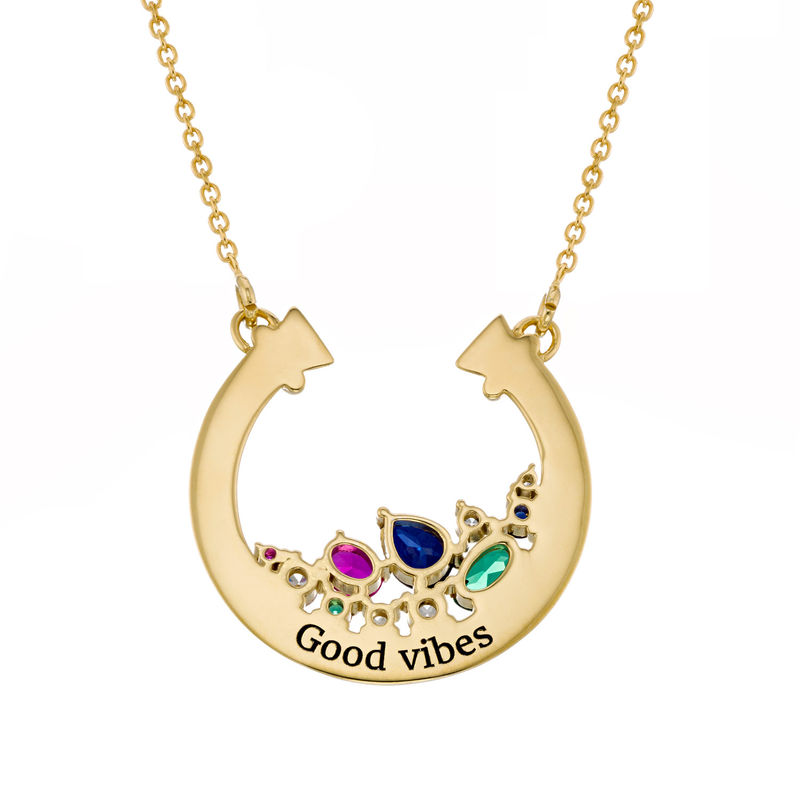 Colgante de medio círculo con piedras preciosas chapado en oro - 1