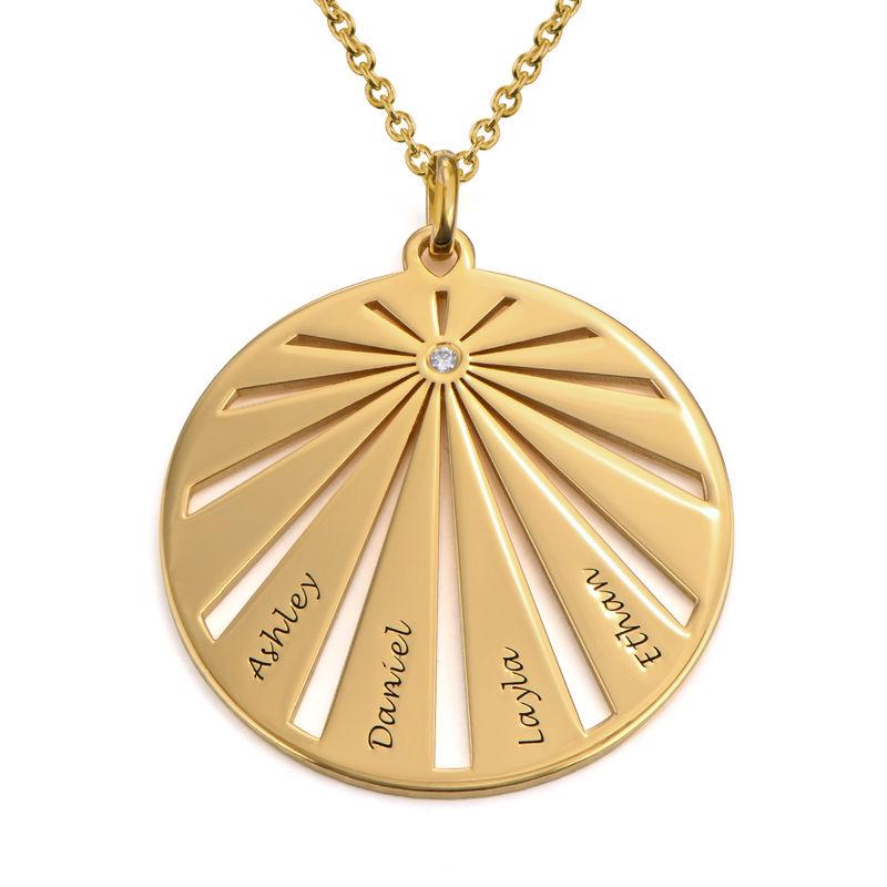 Medalla grabada de la familia con diamante chapada en oro