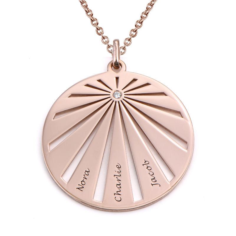Medalla grabada de la familia con diamante chapada en oro rosa