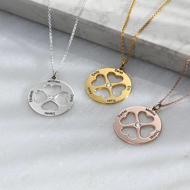Collar de trébol de cuatro hojas con corazón en círculo en plata - 1