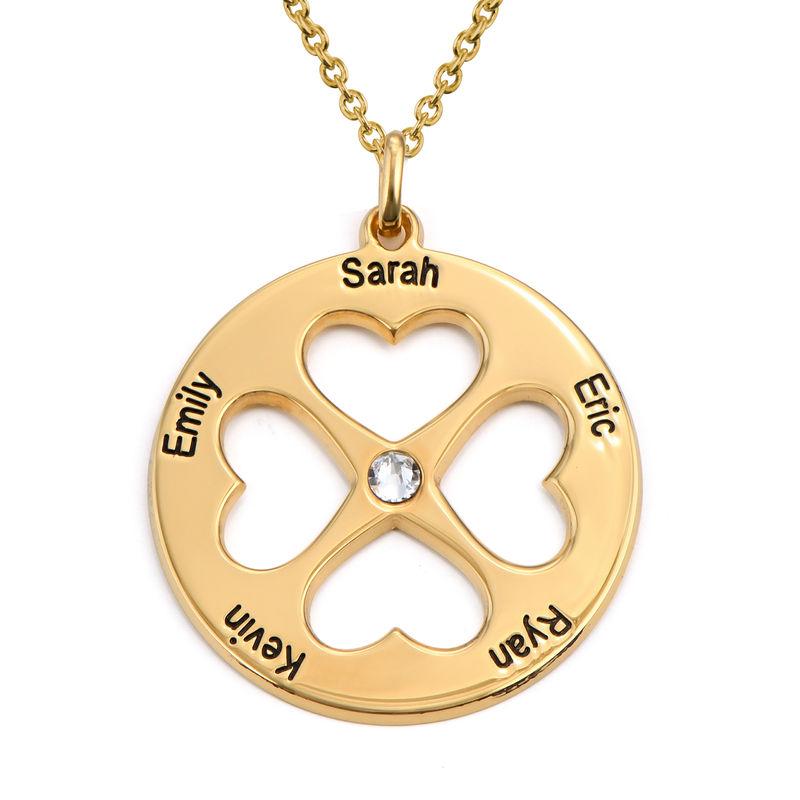 Collar de trébol de cuatro hojas con corazón en círculo chapado en oro