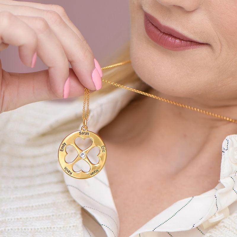 Collar de trébol de cuatro hojas con corazón en círculo chapado en oro - 2
