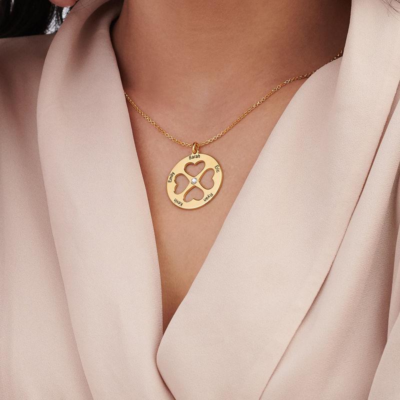 Collar de trébol de cuatro hojas con corazón en círculo chapado en oro - 4