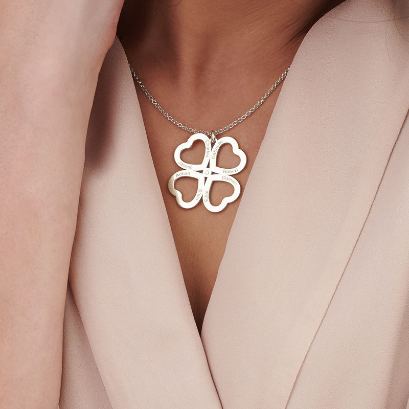 Collar de corazón con trébol de cuatro hojas en plata con diamante - 3