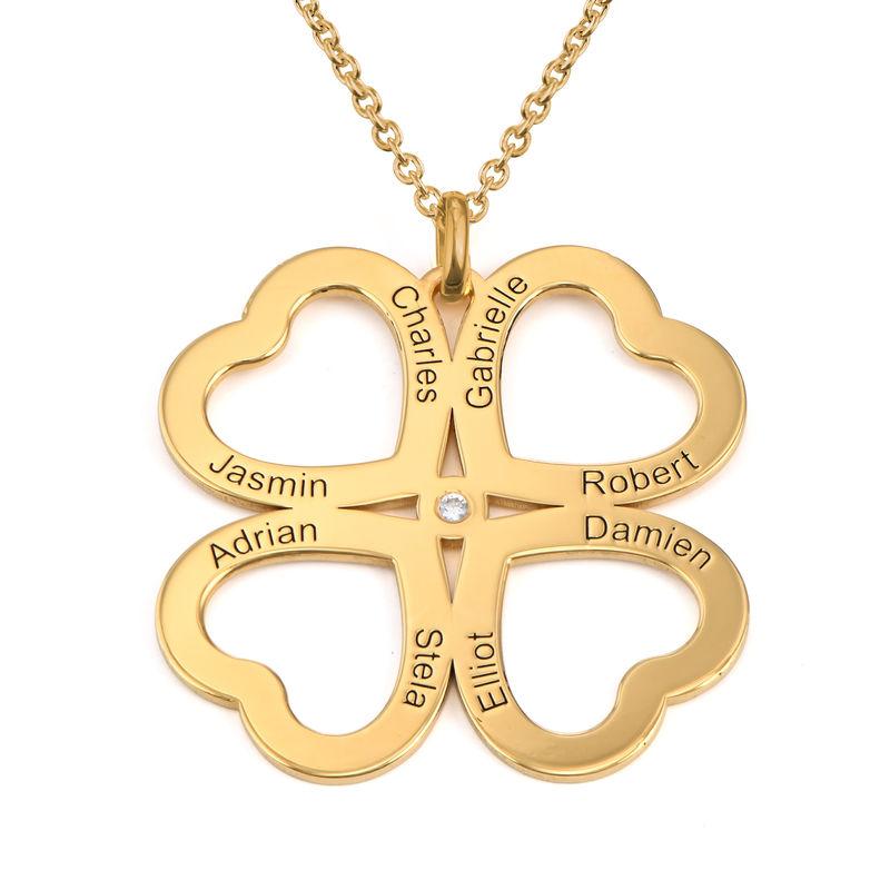 Collar de corazón con trébol de cuatro hojas chapado en oro con diamante