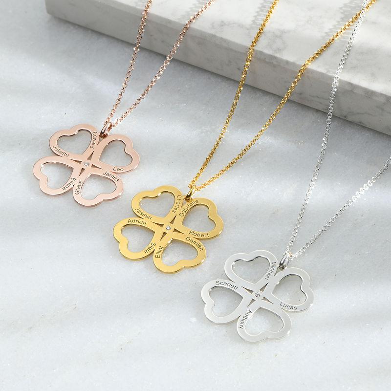 Collar de corazón con trébol de cuatro hojas chapado en oro con diamante - 1