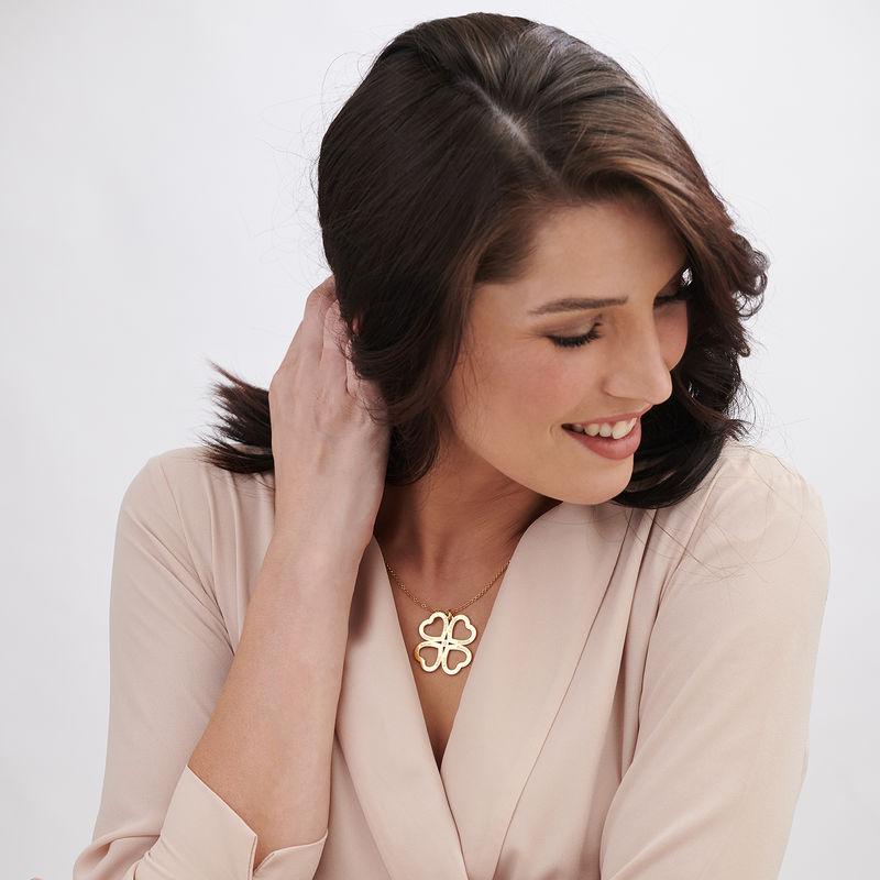 Collar de corazón con trébol de cuatro hojas chapado en oro con diamante - 2