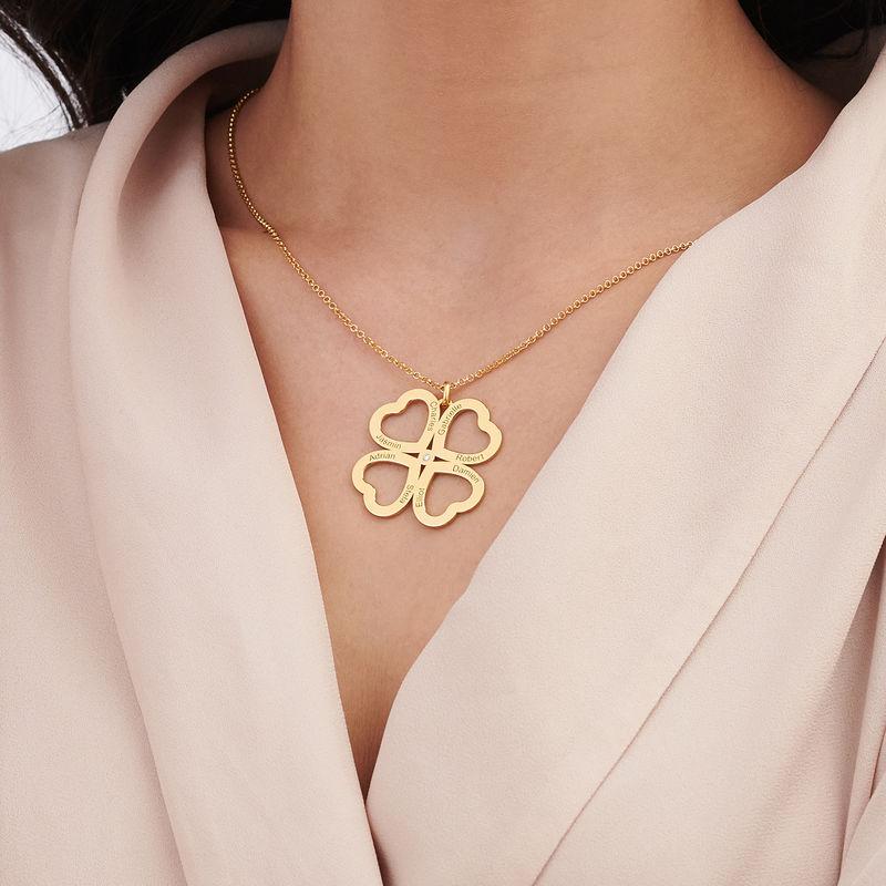 Collar de corazón con trébol de cuatro hojas chapado en oro con diamante - 3