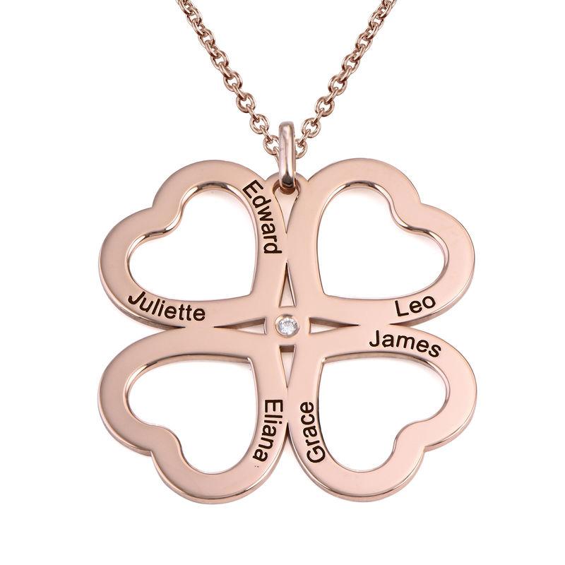 Collar de corazón con trébol de cuatro hojas chapado en oro rosa con diamante