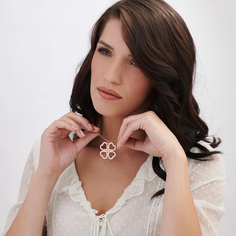 Collar de corazón con trébol de cuatro hojas chapado en oro rosa con diamante - 2