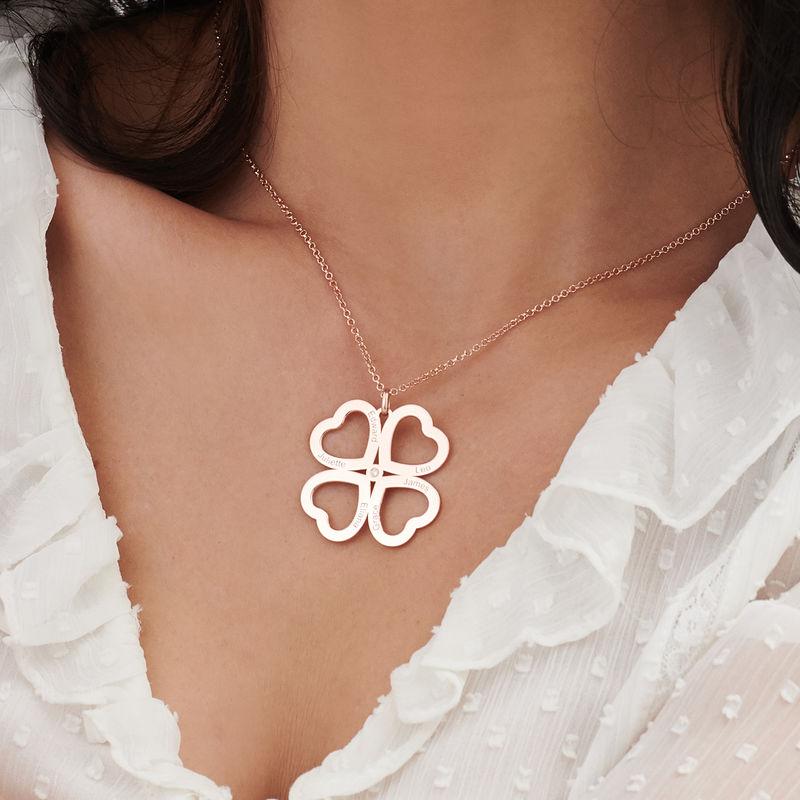 Collar de corazón con trébol de cuatro hojas chapado en oro rosa con diamante - 3