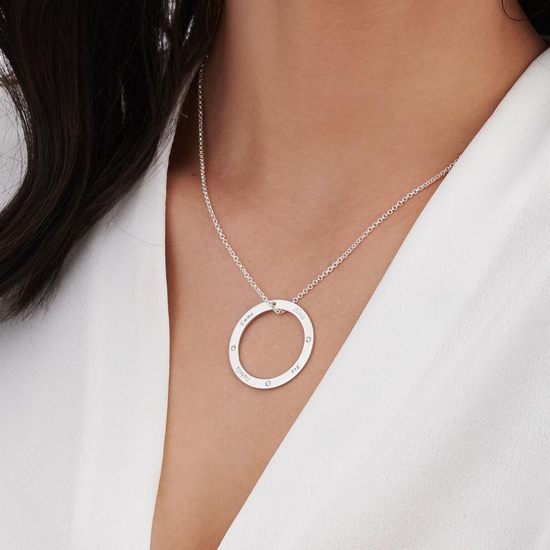 Collar con círculo personalizado con diamantes en plata 925 - 3