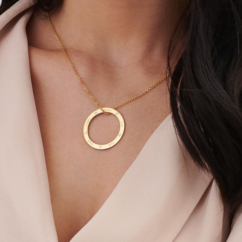 Collar con círculo personalizado con diamantes chapado en oro - 3