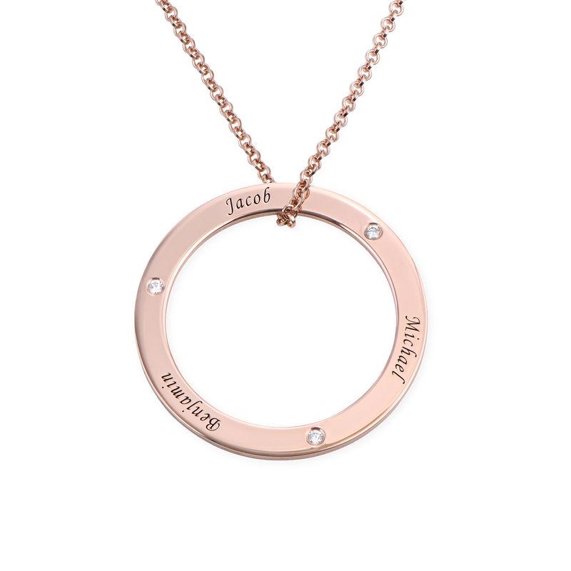 Collar con círculo personalizado con diamantes chapado en oro rosa