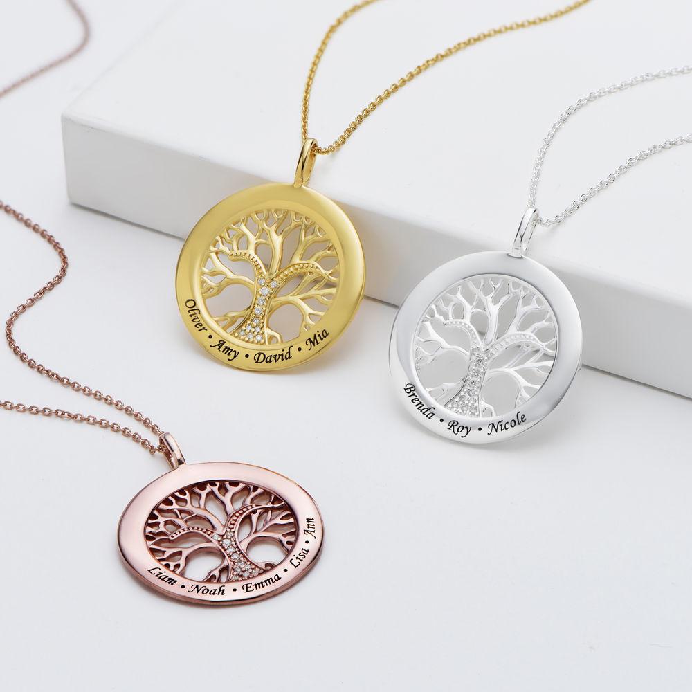 Collar con círculo con árbol de la vida y circonia cúbica chapado en oro - 1