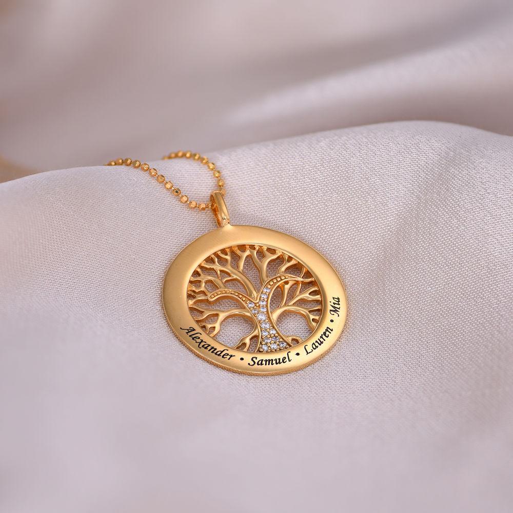 Collar con círculo con árbol de la vida y circonia cúbica chapado en oro - 4