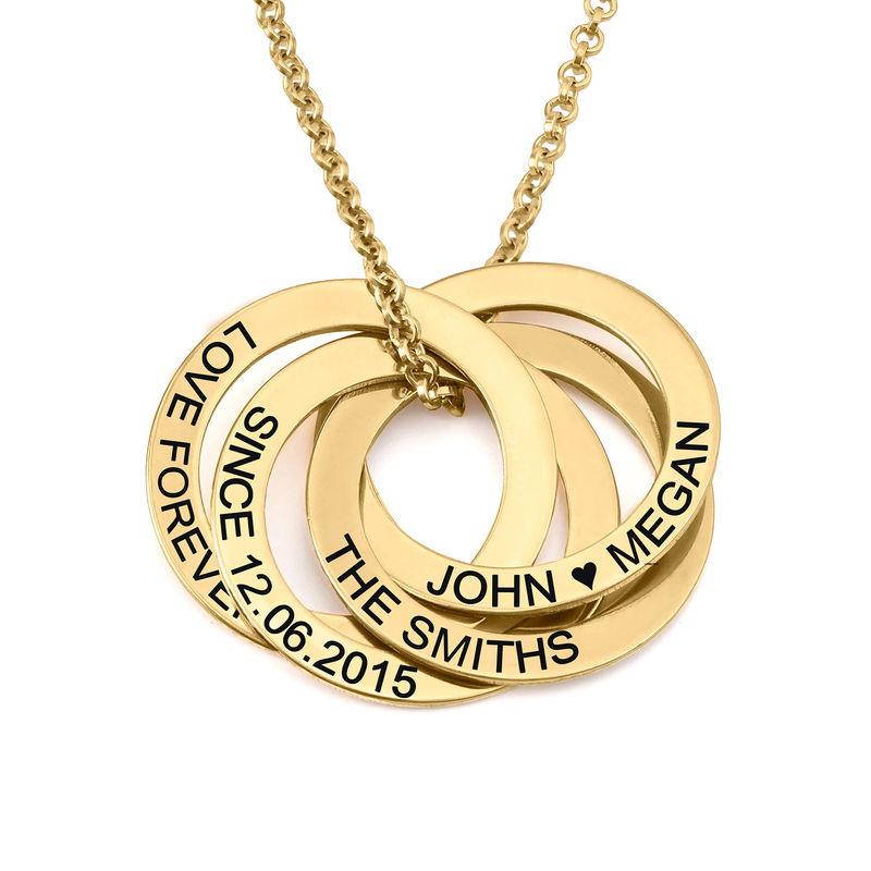 Collar de anillo ruso con cuarto anillos en plata 925 chapado en oro vermeil 18k