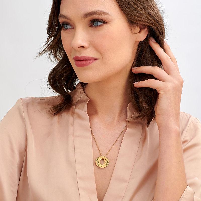 Collar de anillo ruso con cuarto anillos en plata 925 chapado en oro vermeil 18k - 1