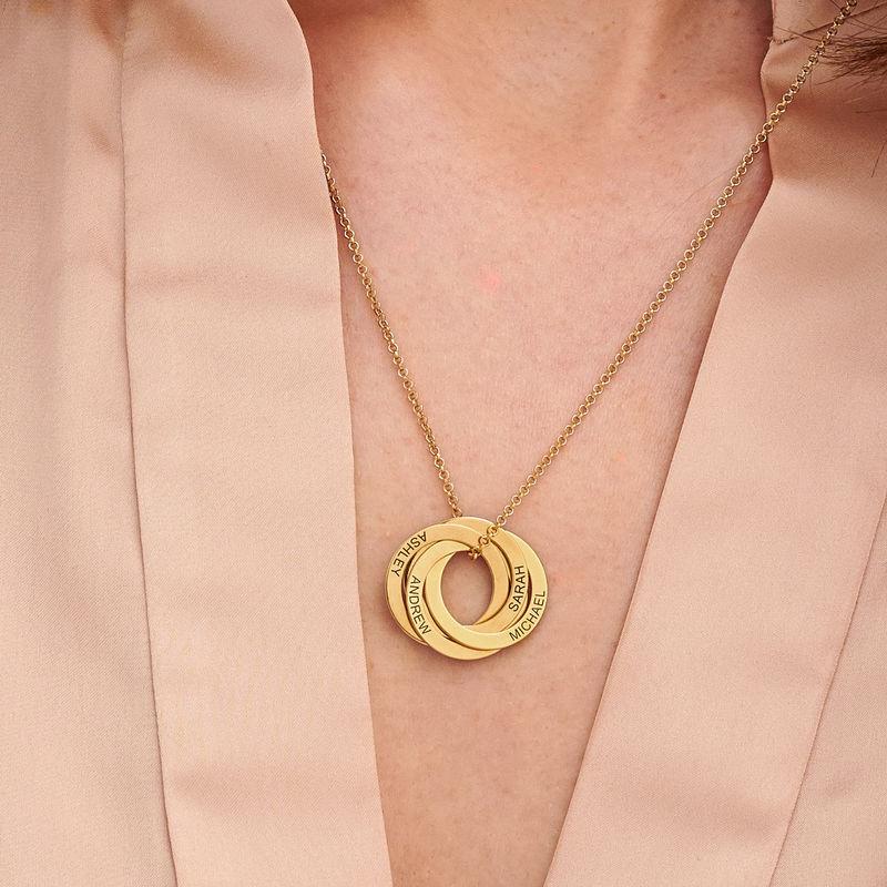 Collar de anillo ruso con cuarto anillos en plata 925 chapado en oro vermeil 18k - 2