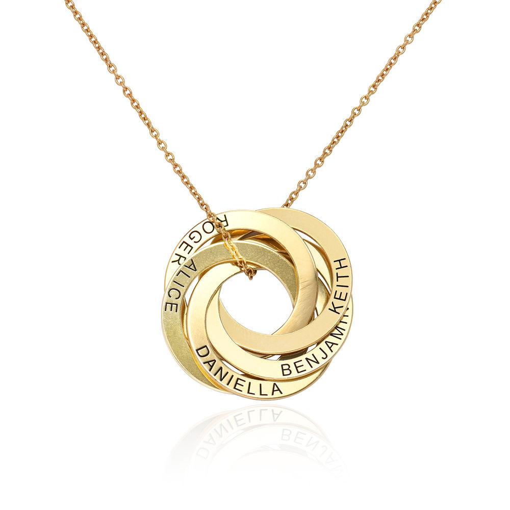 Collar de anillo ruso con cinco anillos en plata 925 chapado en oro 18k