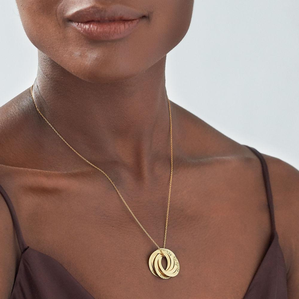 Collar de anillo ruso con cinco anillos en plata 925 chapado en oro 18k - 2