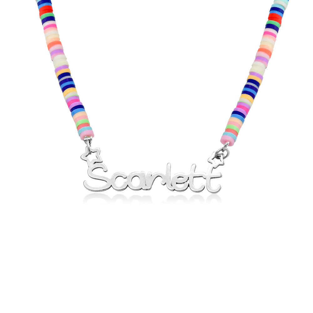 Collar de Cordón con Nombre para Niñas en Plata de Ley foto de producto