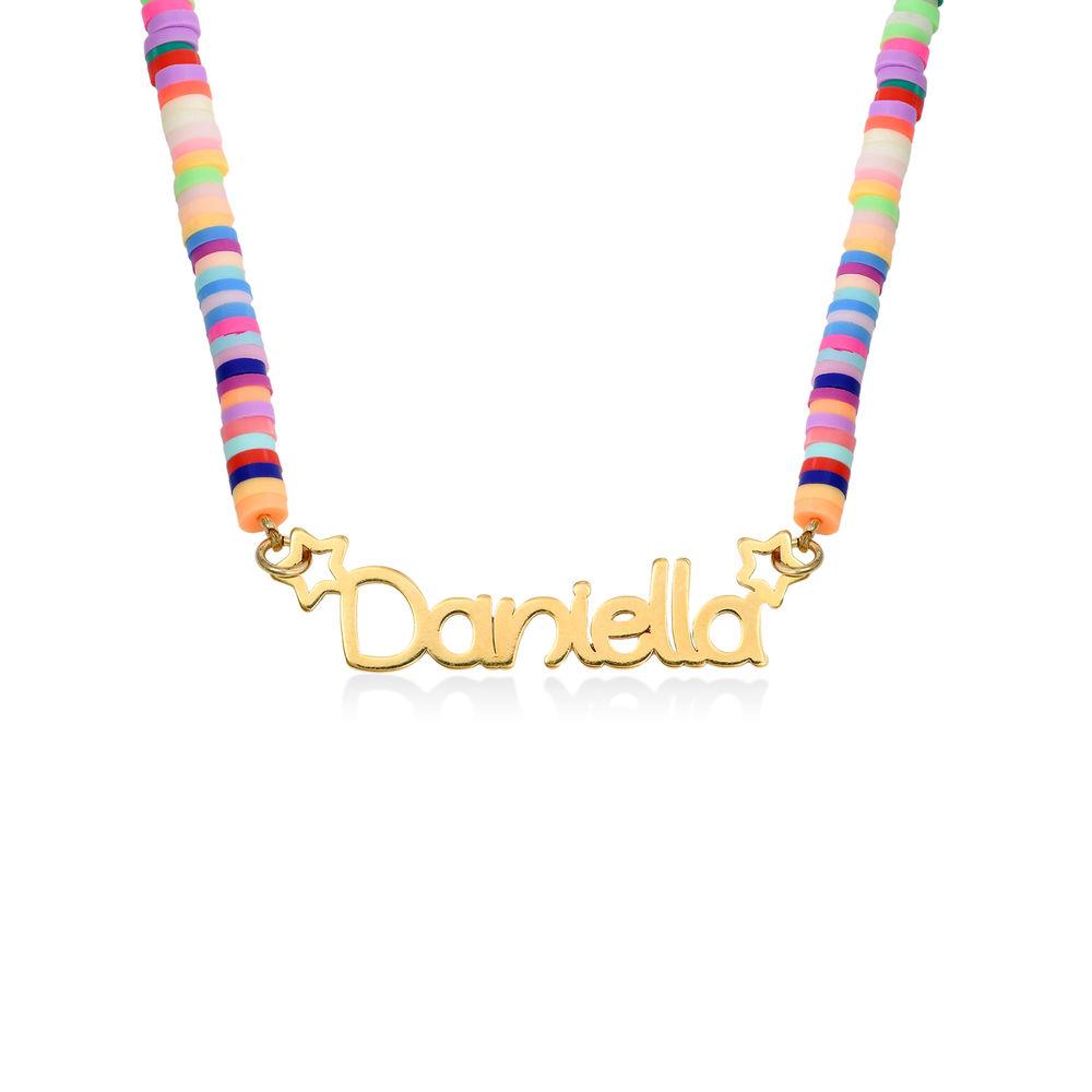 Collar de Cordón con Nombre para Niñas Chapado en Oro 18K