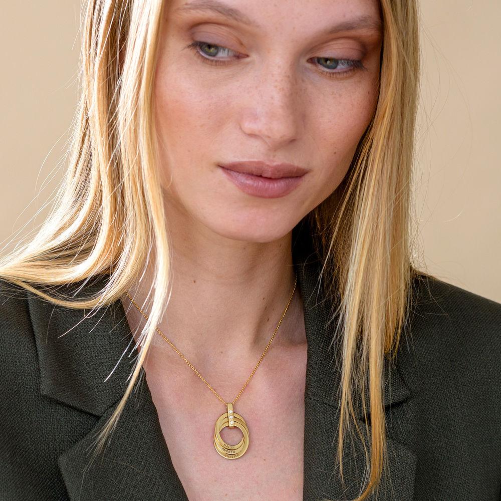 Collar de Anillo Ruso con Diamante Chapado en Oro 18K - 5