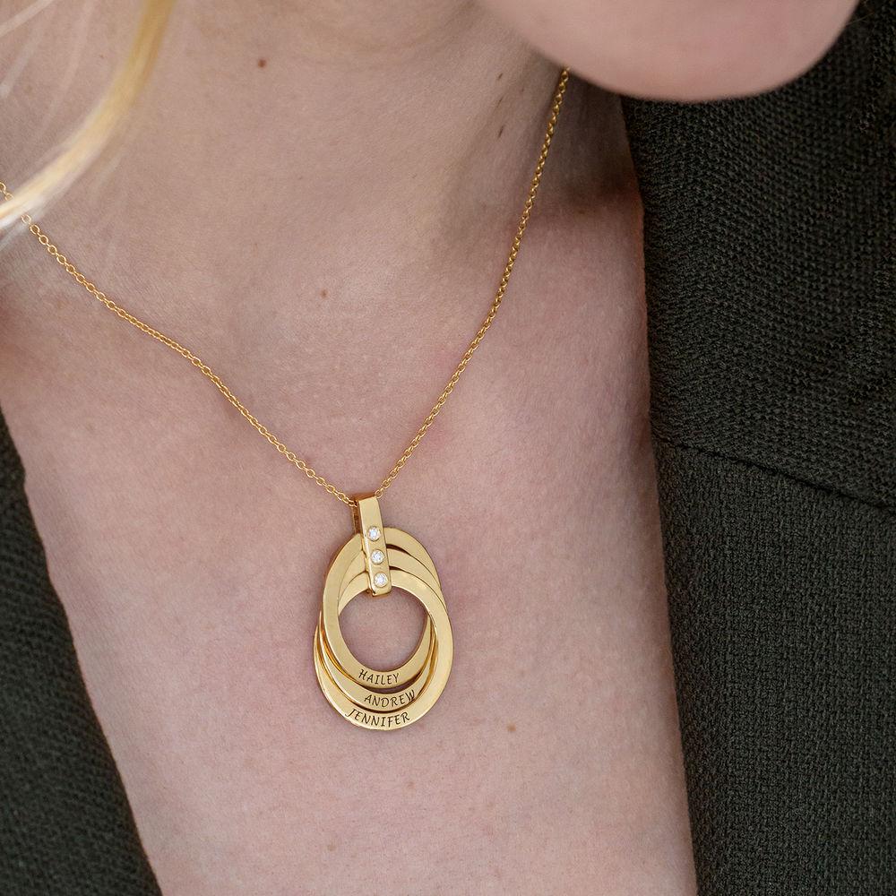 Collar de Anillo Ruso con Diamante Chapado en Oro 18K - 6