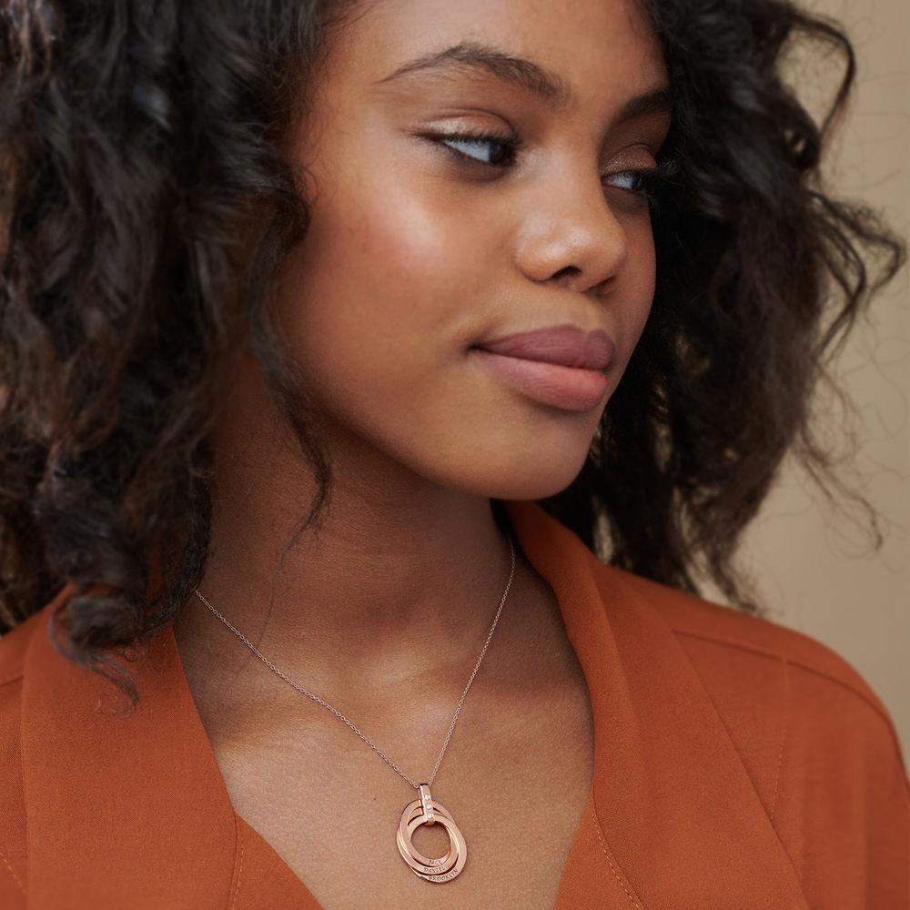 Collar de Anillo Ruso con Diamante Chapado en Oro Rosa 18K - 3
