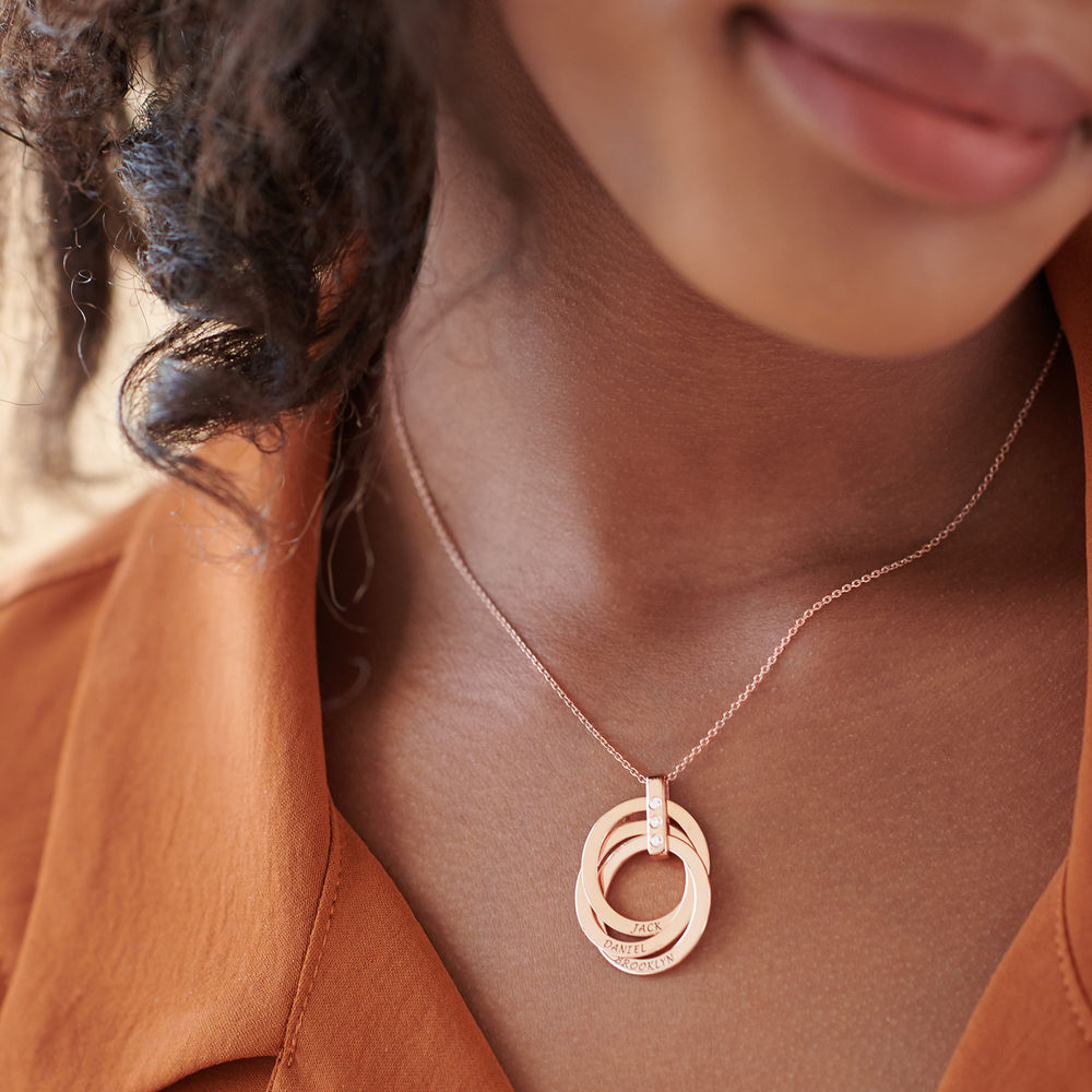 Collar de Anillo Ruso con Diamante Chapado en Oro Rosa 18K - 4