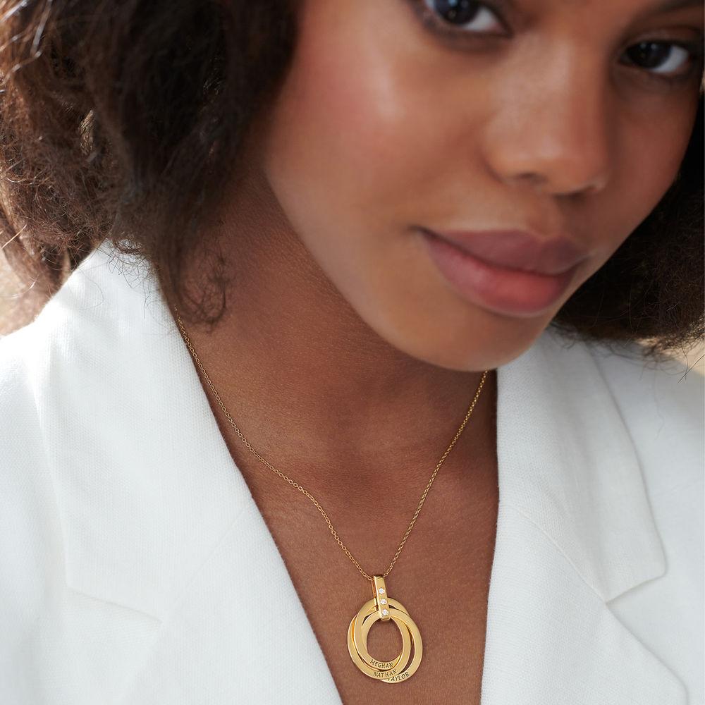 Collar de Anillo Ruso con Diamante en Oro Vermeil - 3