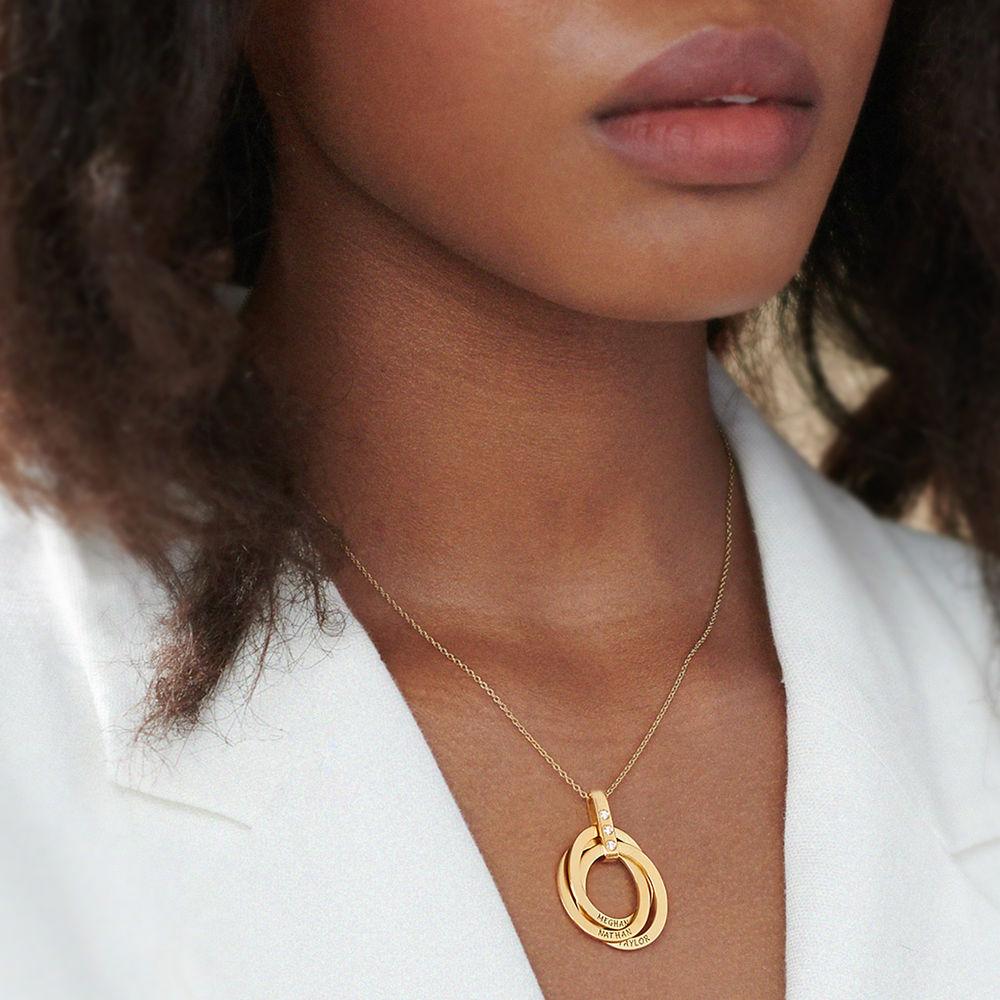 Collar de Anillo Ruso con Diamante en Oro Vermeil - 5