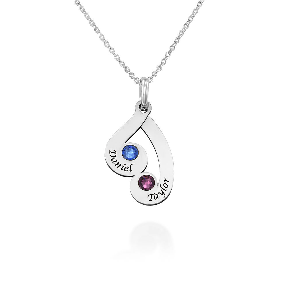Collar colgante familiar grabado con piedras de nacimiento en plata de ley - 1