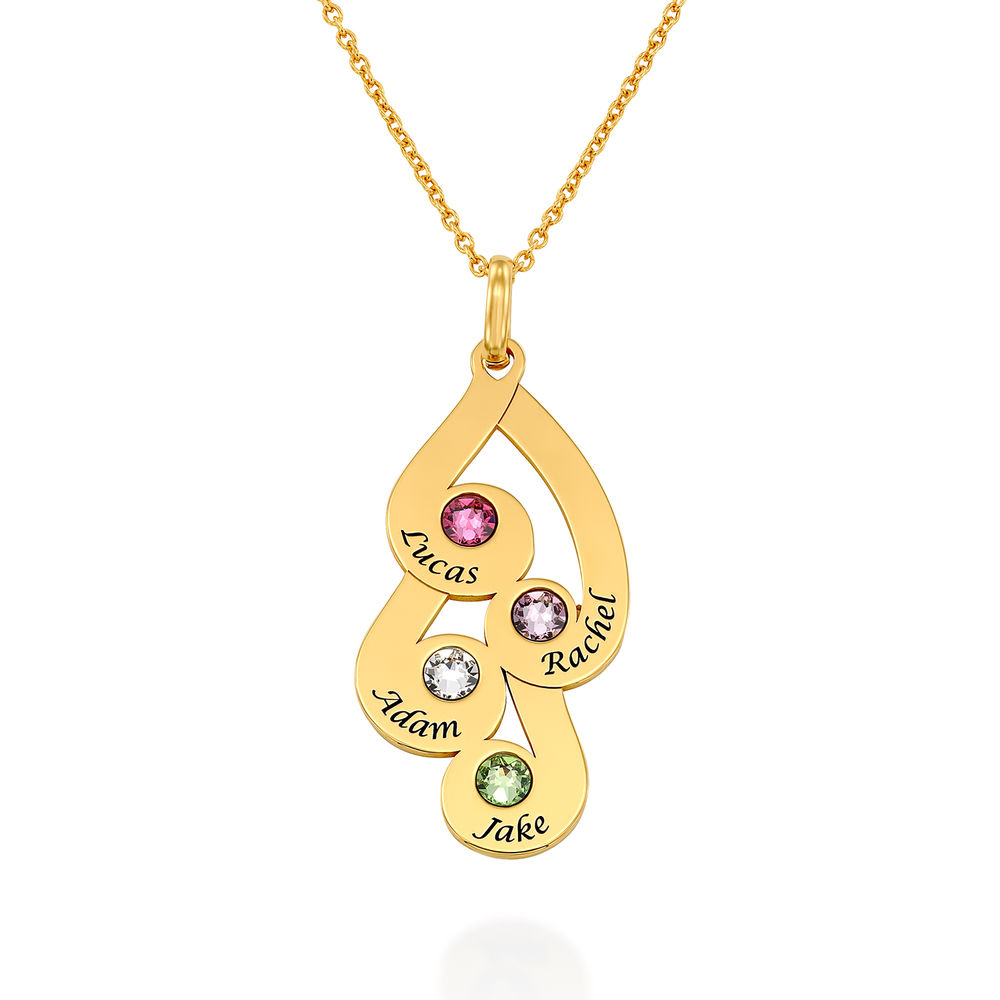 Collar colgante familiar grabado con piedras de nacimiento en chapa de oro 18k