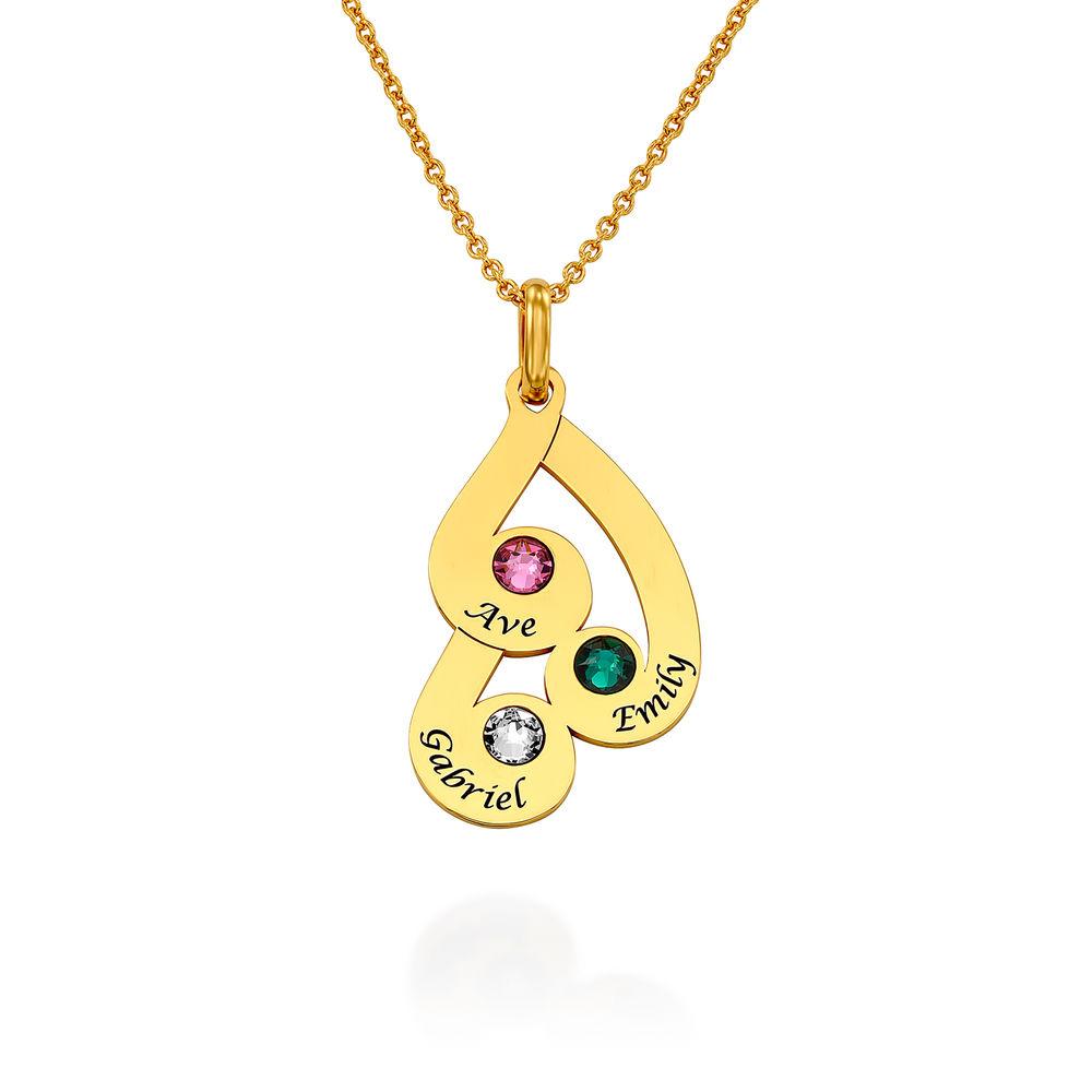 Collar colgante familiar grabado con piedras de nacimiento en chapa de oro 18k - 1