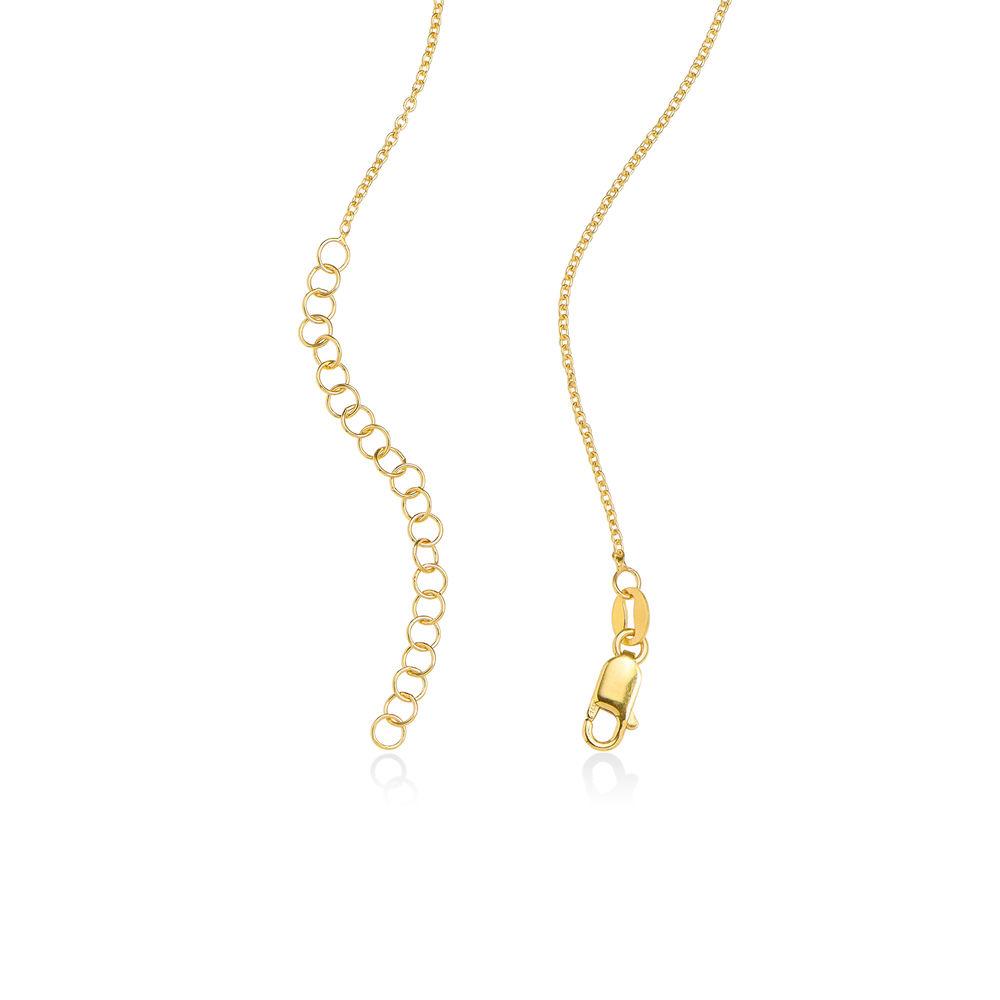 Collar colgante familiar grabado con piedras de nacimiento en chapa de oro 18k - 5
