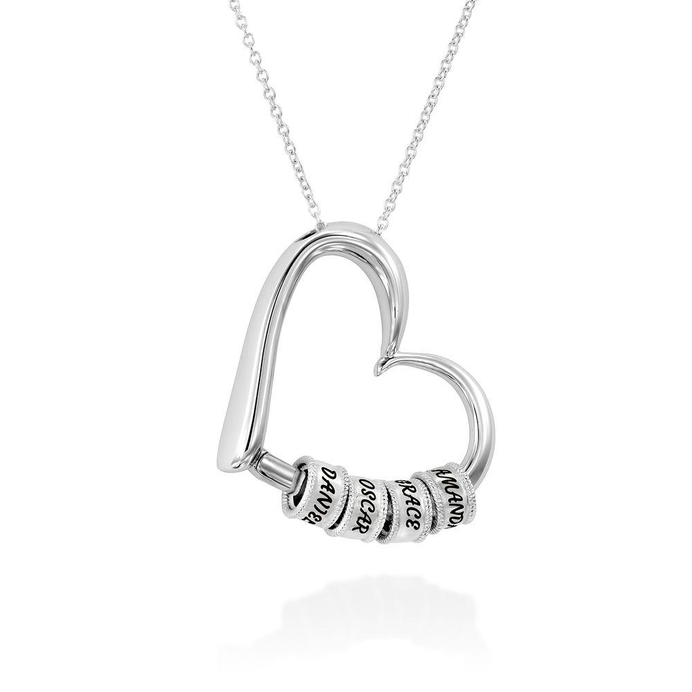 Collar con Colgante de Corazón con Perlas Grabadas en Plata de Ley - 2