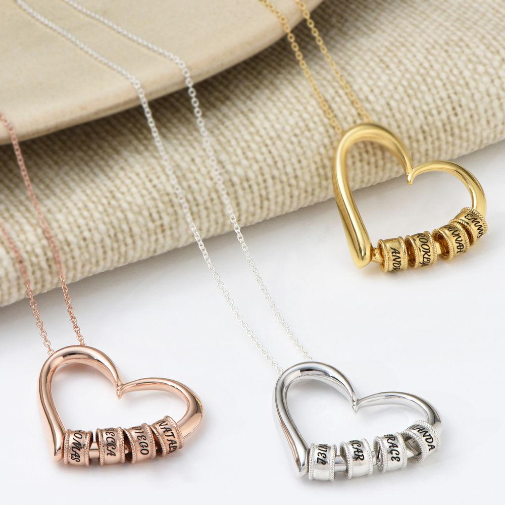 Collar con Colgante de Corazón con Perlas Grabadas en Plata de Ley - 4