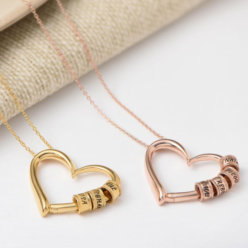 Collar con Colgante de Corazón con Perlas Grabadas Chapado en Oro 18K - 4