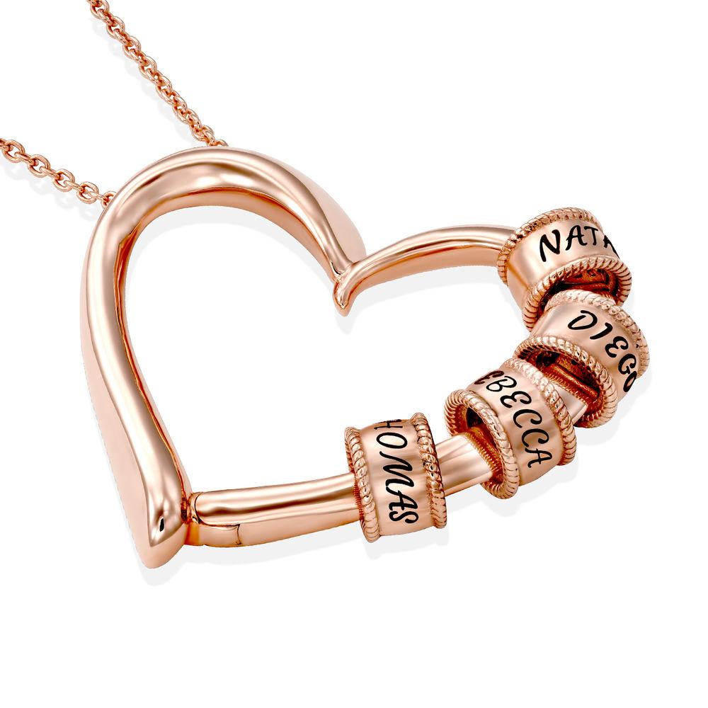 Collar con Colgante de Corazón con Perlas Grabadas Chapado en Oro Rosa 18K - 1