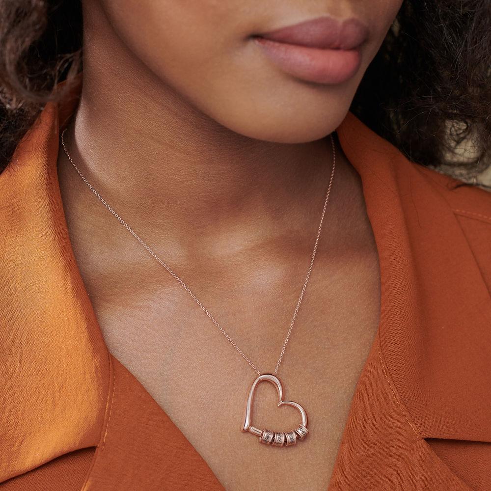 Collar con Colgante de Corazón con Perlas Grabadas Chapado en Oro Rosa 18K - 5
