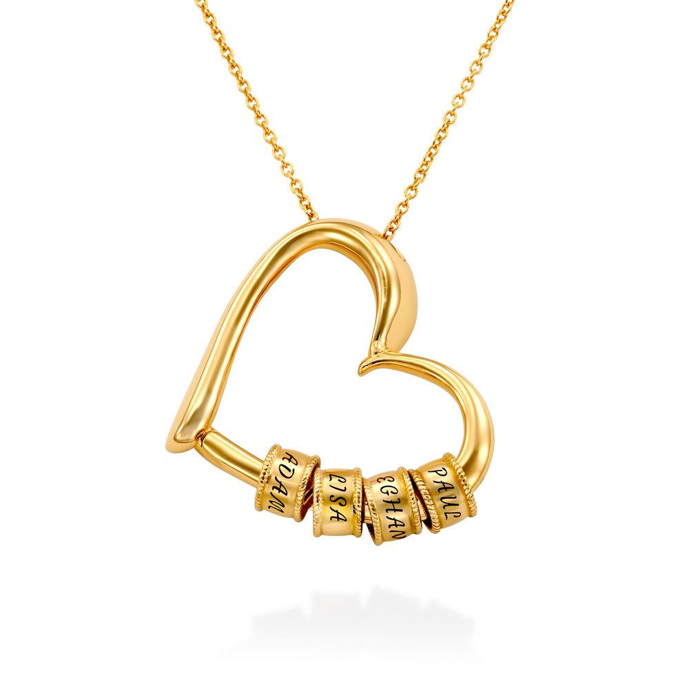 Collar con Colgante de Corazón con Perlas Grabadas en Oro Vermeil