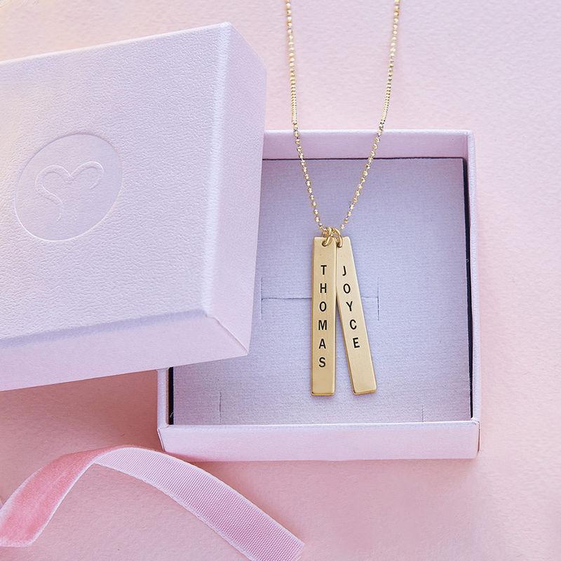 Collar de Barra Vertical Grabado en oro macizo de 10k - 4
