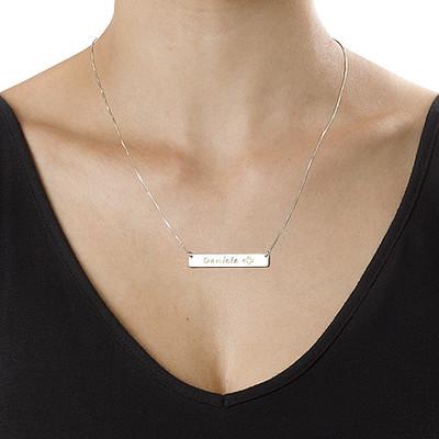 Collar de barra en plata con íconos - 2